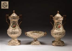 Empire English Shelton Porcelain Urns & Candy Dish