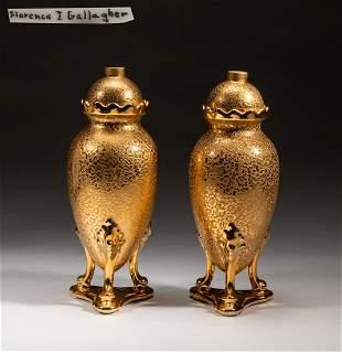 24k Gold Filled Gallagher Porcelain Urns