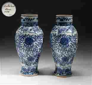 Pair Chinese Export Nederland Blue White Porcelain