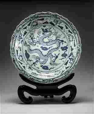 Massive Chinese Blue White Porcelain Dragon Plate