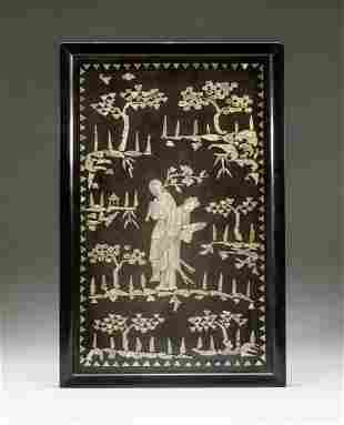 Chinese Wood Hanging Plaque Inlaid MOP