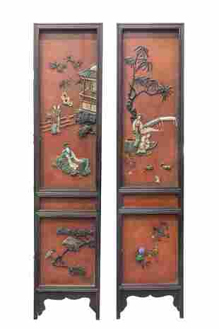 Pair Tall Chinese Lacquer & Jade Stone Wood Plaque