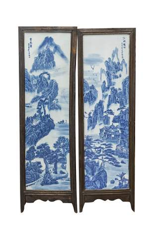 Pair Chinese Blue White Porcelain Hanging Plaques