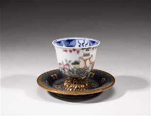 Chinese Porcelain Tea Cup w/ Cloisonne Stand
