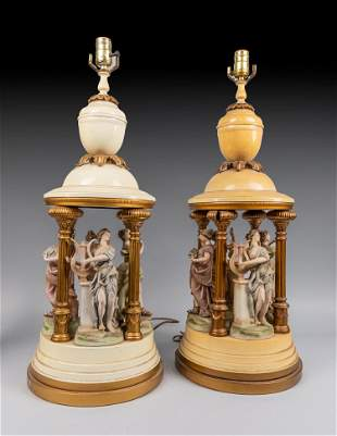 Repaired Pair Spelter Painted Style Table Boudoir Lamp