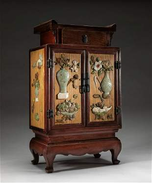 Chinese Wood Cabinet Box Inlaid Jade/Gem Stone