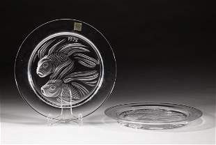 Set France Lalique Crystal Annual Plate 1975