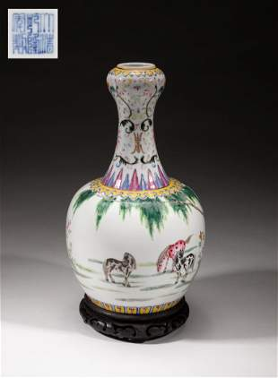 Collectible Chinese Tall Famille Rose Porcelain Vase