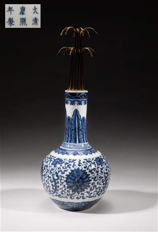 Chinese Blue White Porcelain Lamp Vase