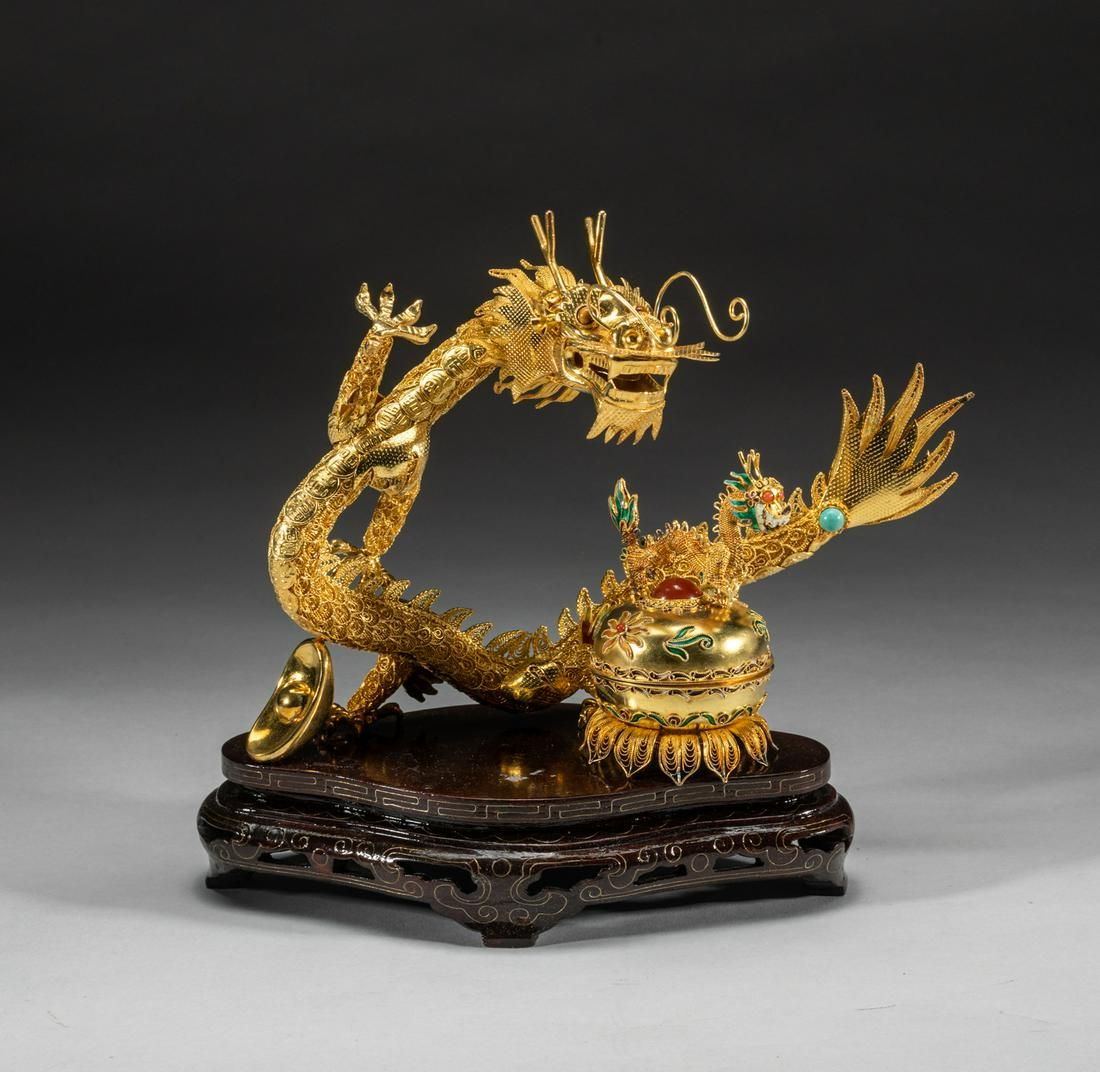 Chinese 24k Gold on silver Dragon Table Sculpture