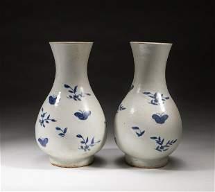 Pair Korean Antique Blue White Porcelain Vases