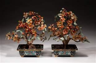 Pair Chinese Cloisonne Jade Agate Bonsais