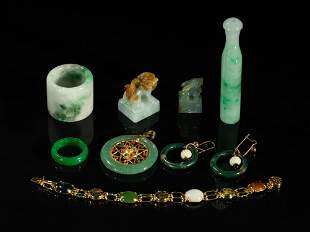 Set Chinese Jade Jadeite Stone Jewelries