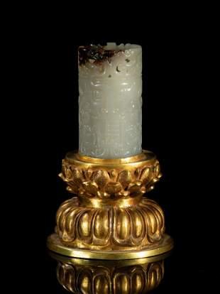 Designed Large Size Chinese Jade Candle Stick