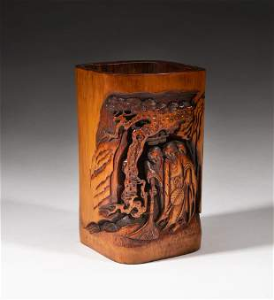 Chinese Ming Type Carved Bamboo Brush Pot