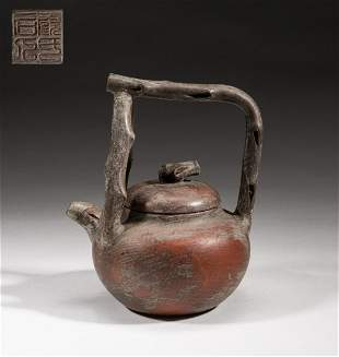 Chinese Zisha Tea Pot with Special Hanging Handle