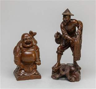 Set Chinese Wood Carving of Table Sculptures