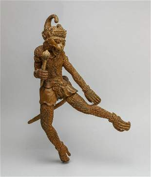 Nice Detailed Indian Wood Carving Hanuman