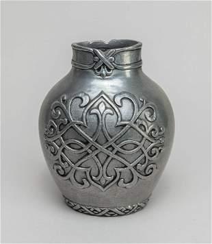 Vintage Metal Flowers Jar