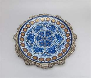 Designed Imari Porcelain Plate w/Silver-plated Base