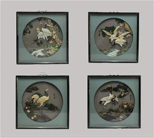 Set Chinese Shell Gemstones Hanging Plaques