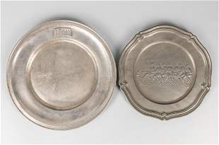 Two Wall Hanging Pewter Plates