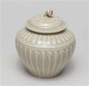 Chinese Ding Type Porcelain Lotus Jar