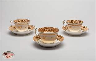 Sets Gold Enameled Spode Porcelain Tea Cups