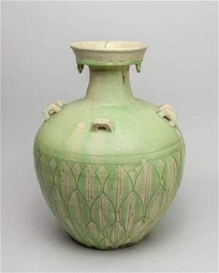 Large Repaired Korean Glazed Pottery Jar