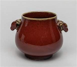 Chinese Flambe Glazed Porcelain Censer
