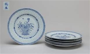 Lg Set Chinese Blue White Porcelain Plates