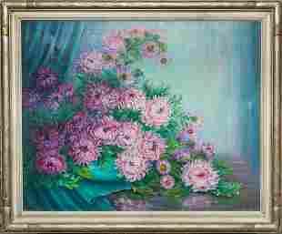 Signed Framed Oil Painting of Chrysanthemum