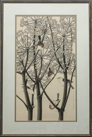 Collectible Signed Lithograph of Birds