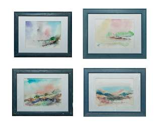 Set Signed Water Color Wall Hangings Landscapes