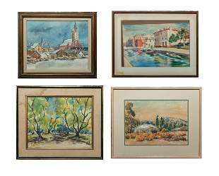 Set Signed Water Color Wall Hangings of Landscapes