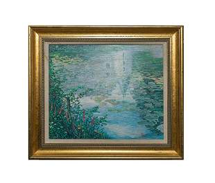 Signed Framed Oil Painting Lotus