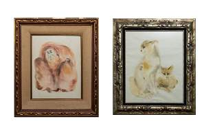 Set Water Color Wall Hangings Animals