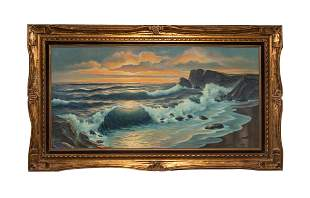 Framed Oil Painting of Sea