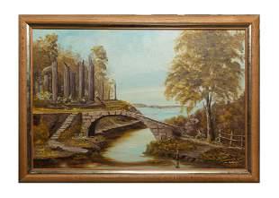 Framed Oil Painting of Bridge