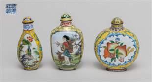 Set Chinese Enameled on Copper Snuff Bottles