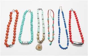 Group Gem Stone Necklace w/925 Links