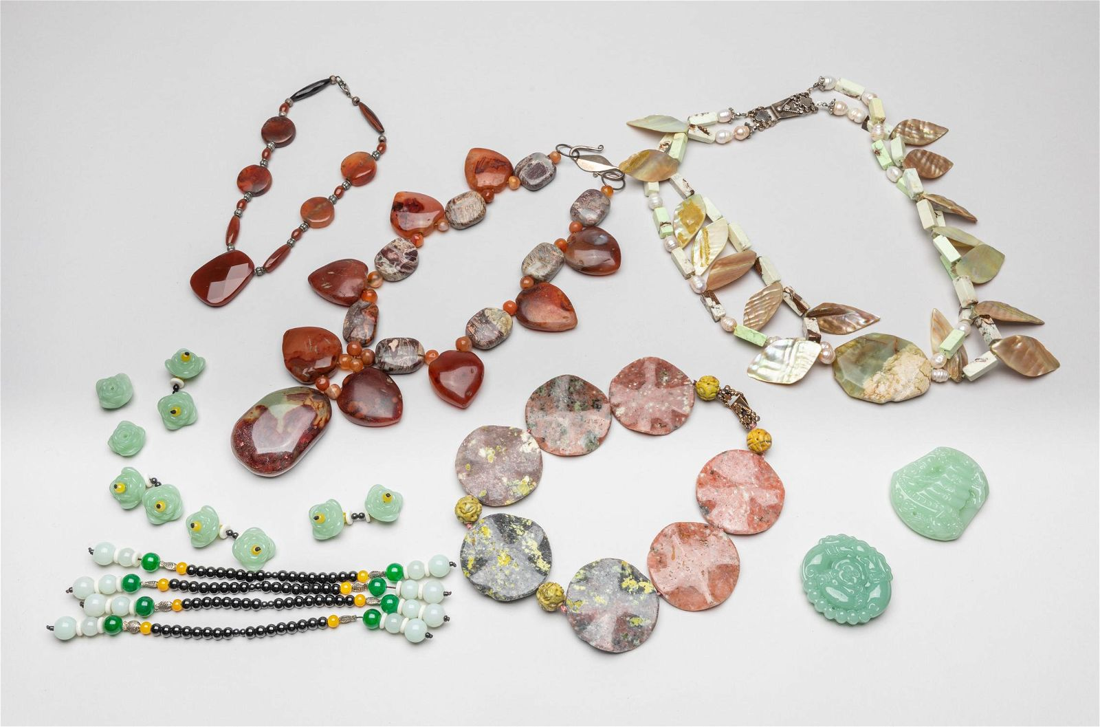Group Chinese Export Gemstone Jewelries