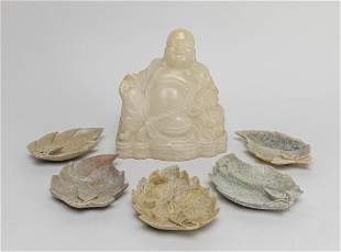 Chinese Stone Carving of Buddha/Flowers Plates