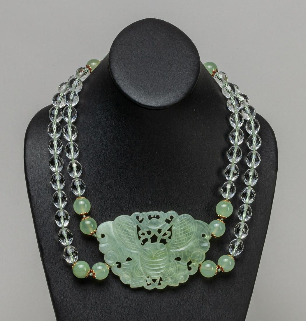 Chinese Export Jade Carving Necklace