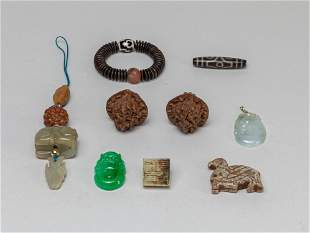 Estate Chinese Jade/Stone/Nuts
