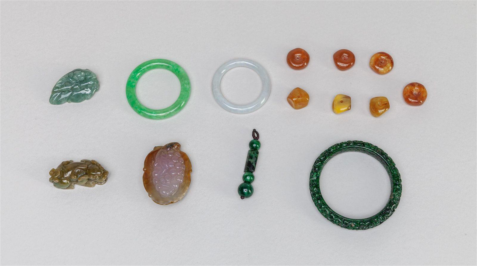 Estate Chinese Jade/Gem Stone Jewelries
