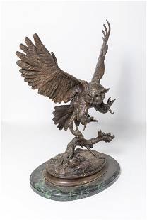 Large Bronze Marble Owl Sculpture