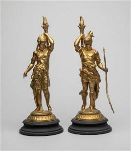 Pair France Louis XVI Type Gilt Sculptures