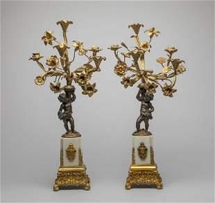 Pair France Louis XVI Type Gilt Bronze Candlesticks