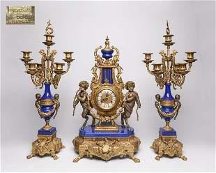Repaired Brevettato Gilt Bronze Table Clock Set